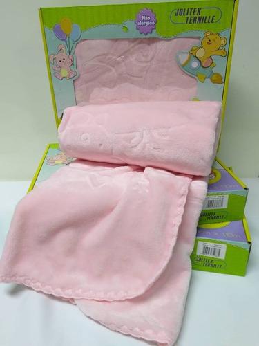 Cobertor Bebe Menina Touch Texture Raschel Relevo Jolitex