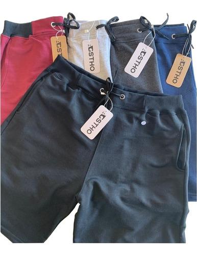 Kit 5 Shorts Moletom Liso Com Amarração Academia Treino Full