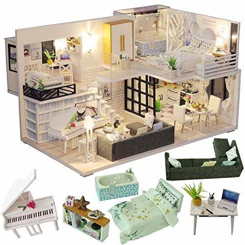Miniatura De La Casa De Muñecas Cutebee Con Muebles, Kit De