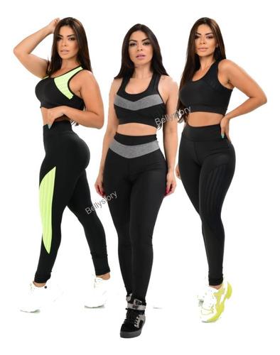 3 Top Cropped E 3 Calça Legging Feminina Academia Exercícios