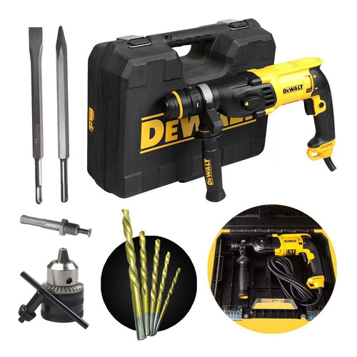Martelete Combinado Sds 800w D25133k Dewalt + Kit Completo