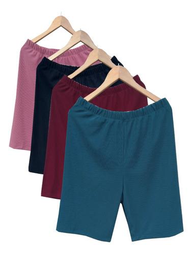 Kit De 3 Shorts Feminino Gorgurinho Plus Size Com Elastano