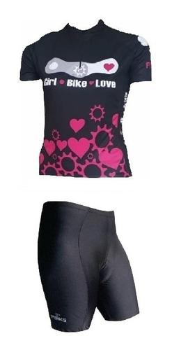 Conjunto Penks Bike Love Camisa + Bermuda Preta