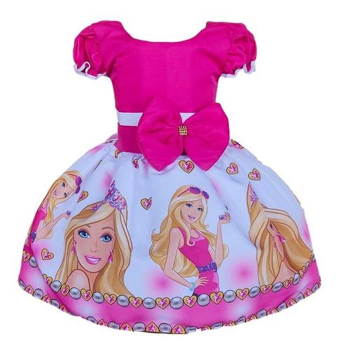 Vestido Barbie Rosa Aniversario Infantil