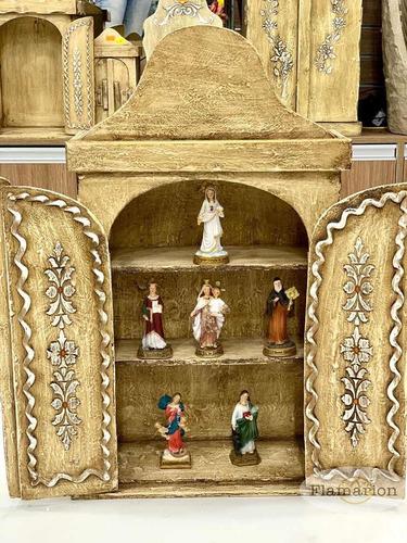 Oratório Capela Madeira Prateleiras P/ Vários Santinhos 52cm