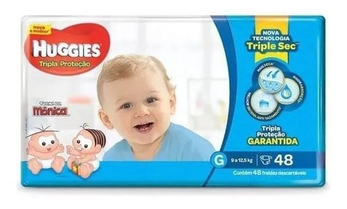 Fralda Huggies G Turma Da Mônica Tripla Proteção Mega 48 Un