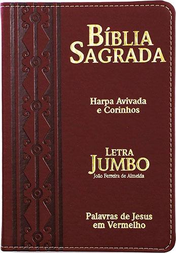 Bíblia Sagrada Jumbo Capa Pu Luxo Harpa Avivada E Corinhos