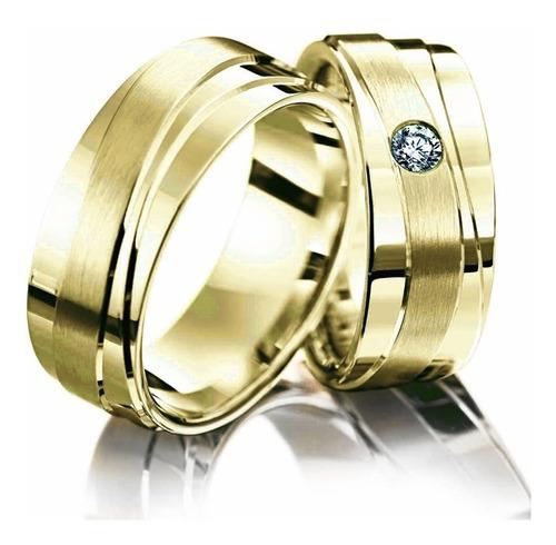 Par Alianças De Ouro 18k Diamante 16gramas 6mm  Original