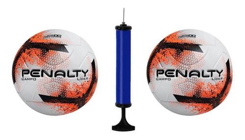 Kit 2 Bolas Penalty Campo Lider Xxi + 1 Bomba De Ar