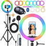 Kit Youtuber Tripé De Celular Microfone Ring Light Colorido
