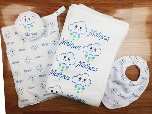 Kit Manta Naninha Babador Personalizada Com Nome Do Bebe