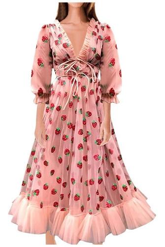 Mulheres De Malha De Fio Com Decote Em V Plissado Vestido