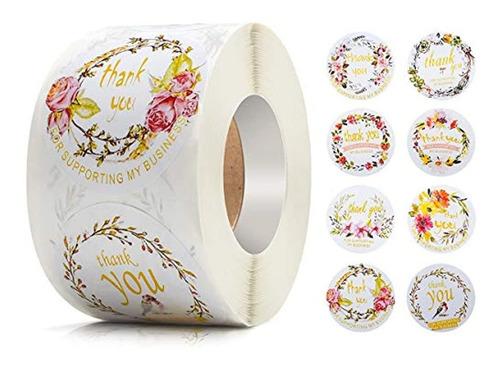 Etiquetas Adhesivas Diseño De Flores, 500 Unidades, Imcomor