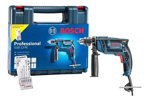 Furadeira Elétrica De Impacto E Parafusadeira Bosch Professional Gsb 13 Re 3150rpm 600w Azul 220v Com Maleta De Transporte + Kit 5 Brocas Cyl-1
