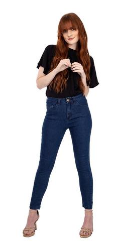Calça Jeans Feminina Skinny Elastano Cintura Alta Azul