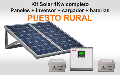 Kit Solar 1 Kw - Paneles + Inversor + Cargador + Baterías
