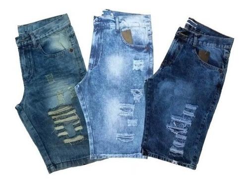 Kit 3 Bermudas Masculina Jeans Rasgadas Original Envios Full