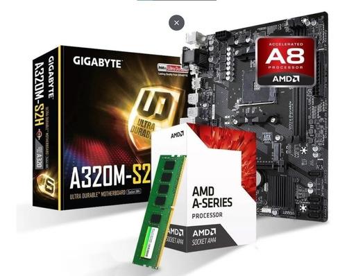 Cpu Amd A8 Am4 + Mb A320 + 4gb Ddr4 + 240ssd + Kit