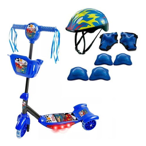Patinete Infantil 3 Rodas Som Led Cesta Com Kit Proteção 4x1