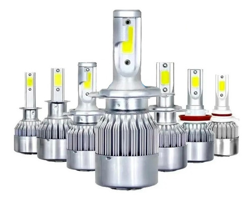 Par Lampada Led C6 72w 6000k 7200 Lumen 9-36v Super Branca