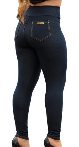 Calça Legging Jeans Cintura Alta Com Bolso Costura Reforçada