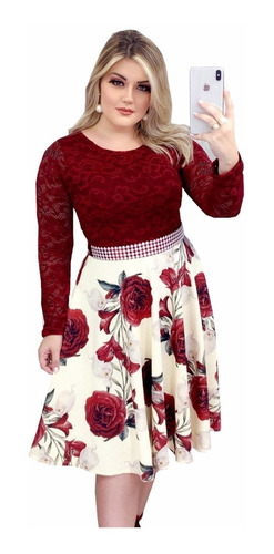 Vestido Casamento Civil Midi Floral Moda Evangélica