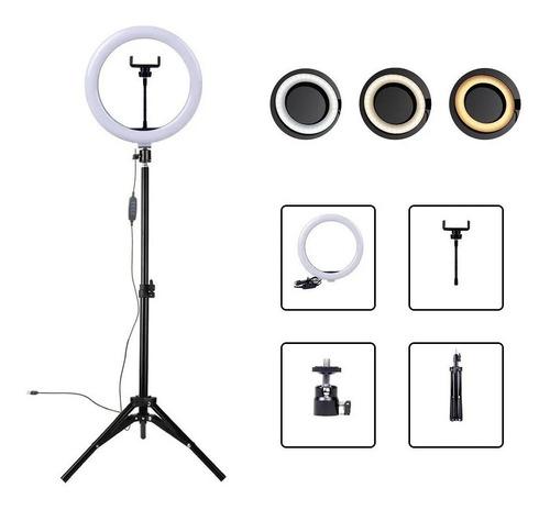 Ring Light Iluminador 26cm 10 Polegadas Tripé Completo