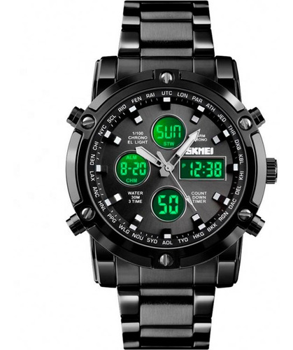 Relógio Masculino Skmei 1389 - Á Prova D'água 30m - Aço Inox
