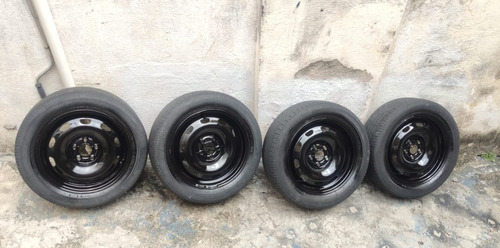4 Pneus E Calotas Meia Vida Bridgestone  195/55r15 Turanza