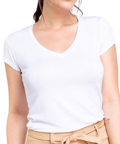 Blusa Camiseta Básica Feminina Malha Viscolycra Fresquinha
