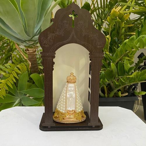 Capela Com Imagem Nossa Senhora Aparecida Baby 14cm Perola
