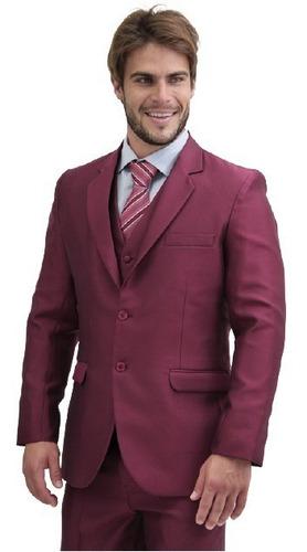 Terno Slim Masculino - Calça+paletó+colete+ Brinde+barato