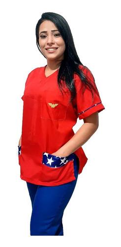 Conjunto Pijama Hospitalar Mulher Maravilha-scrub