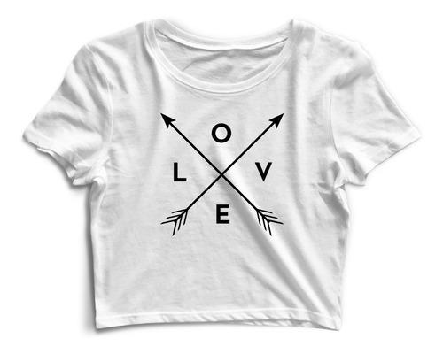 Cropped 100% Algodão Camiseta Love Tumblr Promoção