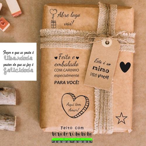 7 Carimbos Feito Com Amor Estrela Coração Abre Logo Vai