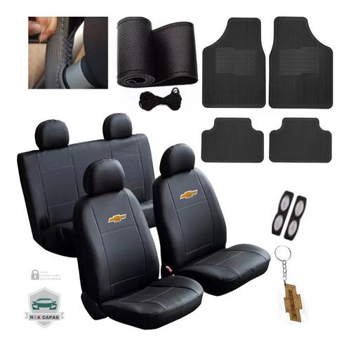 Kit Capa Couro Banco Carro Tapete Volante Chevrolet Classic
