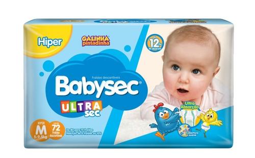 Fralda Babysec Ultrasec Hiper Pacotão Tamanho M 72 Unidades
