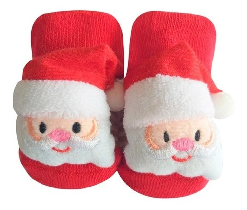 Meia 3d Natal Infantil Com Antiderrapante Papai Noel