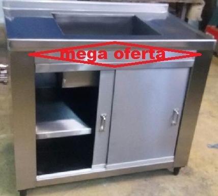Gabinete Em Aço Inox Escovado 1.20x60x90 Com 1 Cuba Promoça