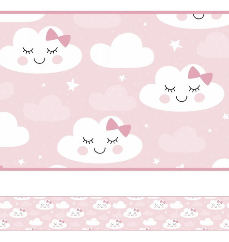 Faixa Decorativa Infantil Papel Parede Chuva Nuvem Rosa Bebê
