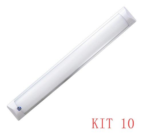 Kit 10 Luminária Tubular Led Slim Branco Frio 120cm 40w