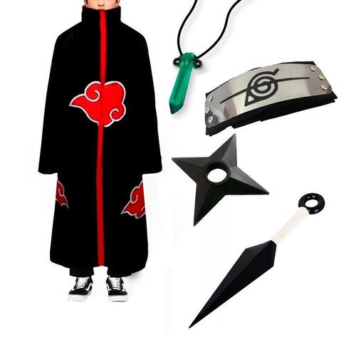 Kit Manto Akatsuki + Bandana Kunai Shuriken Colar - Naruto