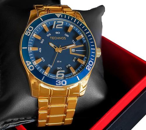 Relógio Technos Masculino Dourado Classic Original Barato