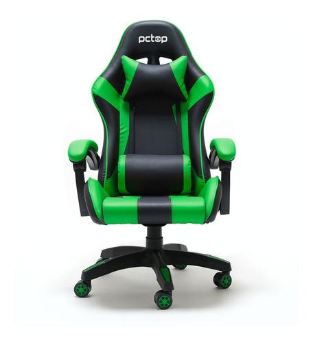 Cadeira Gamer Pctop Pc6022 Ergonômica Reclinável Preta/verde