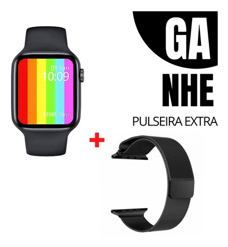 Relogio Smartwatch Inteligente Iwo W26 Pulseira Metal Extra