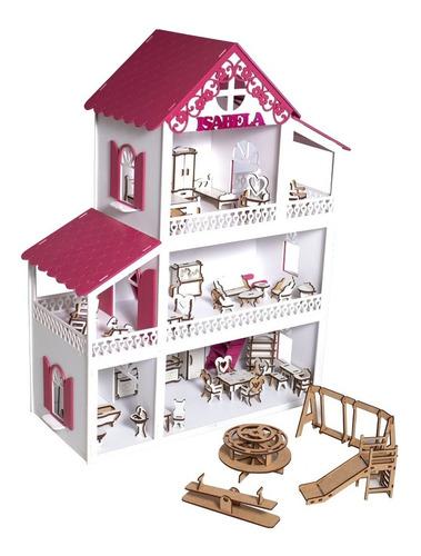 Casinha De Boneca Polly + 36 Móveis + Parquinho + Nome + Led