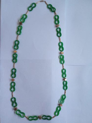 Collar Verde Aplique Ycierre Dorado 46cm Regalo Imperdible