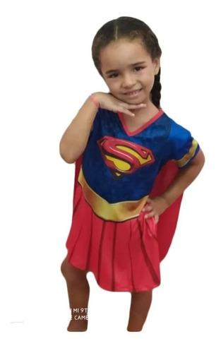 Fantasia Infantil Super Girl Vestido Com Capa