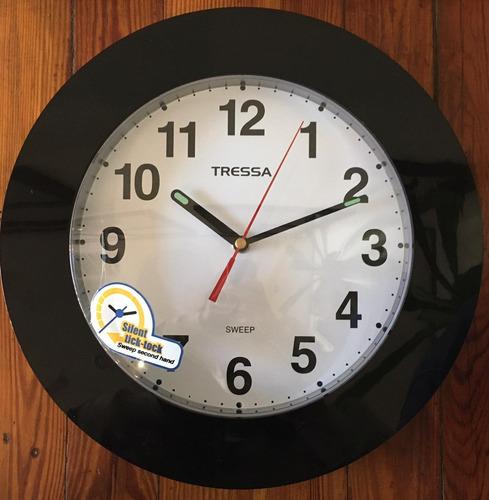 Reloj De Pared Negro Tressa