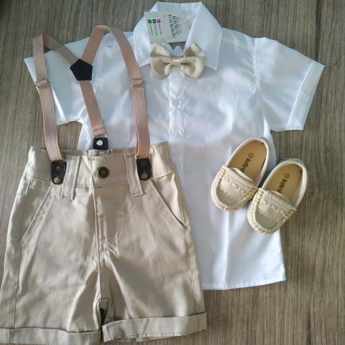 Roupa De Batizado Menino Bebê Infantil Pajem Social + Sapato